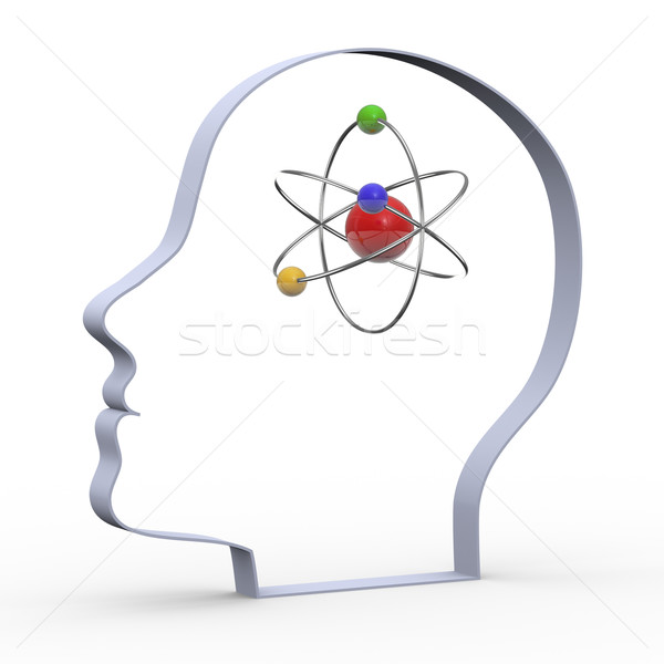3d head and atom Stock photo © nasirkhan