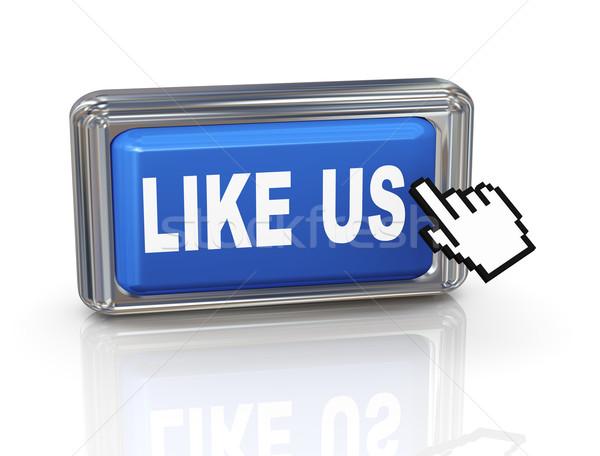 3d hand cursor button - like us Stock photo © nasirkhan