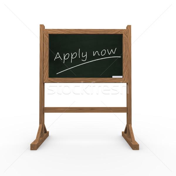 3d black chalkboard word apply now Stock photo © nasirkhan