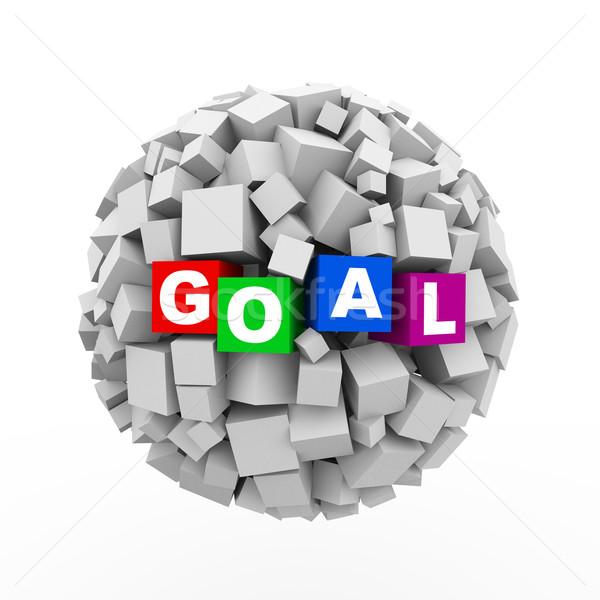 3d cubes boxes sphere ball - goal Stock photo © nasirkhan