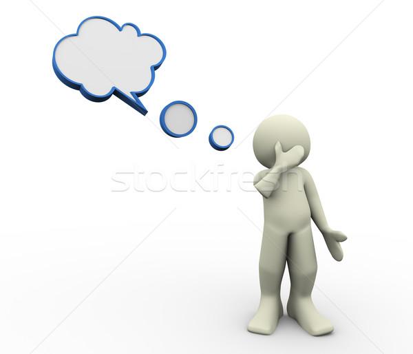 Foto stock: O · homem · 3d · pensando · 3d · render · homem · balão · de · fala · ilustração · 3d