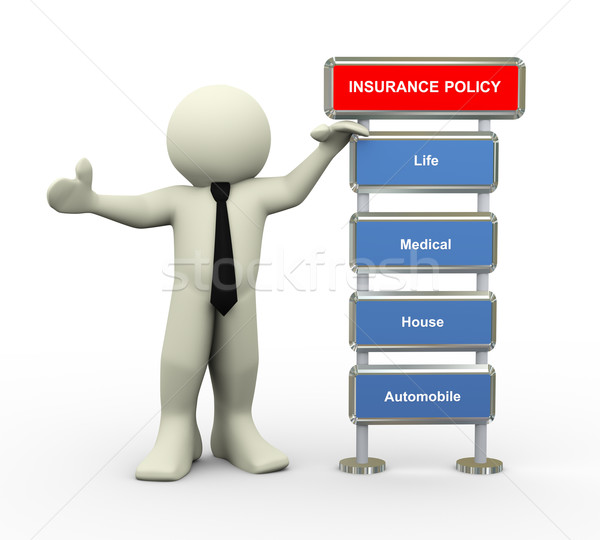 3d businessman and insurance policy Stock photo © nasirkhan