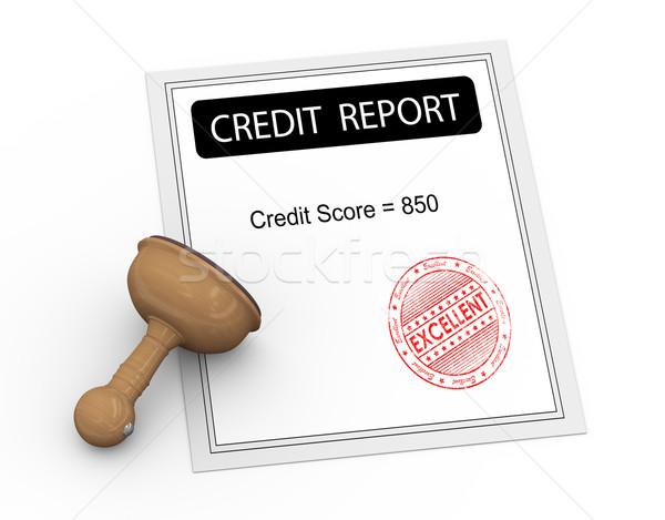 3D excellente crédit score rapport 3d illustration Photo stock © nasirkhan