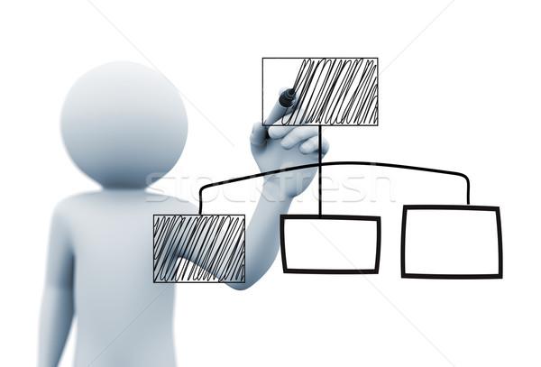 3d person drawing organzational chart Stock photo © nasirkhan