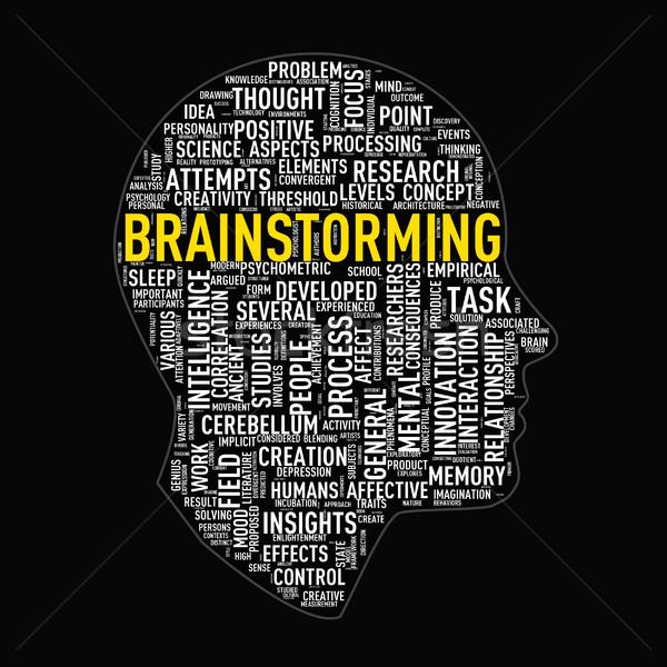 Human head wordcloud tags brainstorming Stock photo © nasirkhan