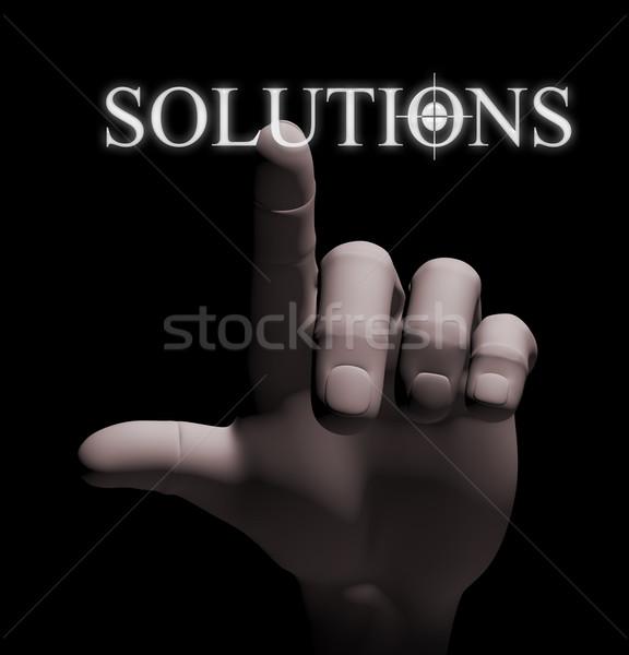 3d finger touching solution illustration Stock photo © nasirkhan
