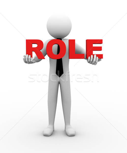 3d businessman holding role illustration Stock photo © nasirkhan
