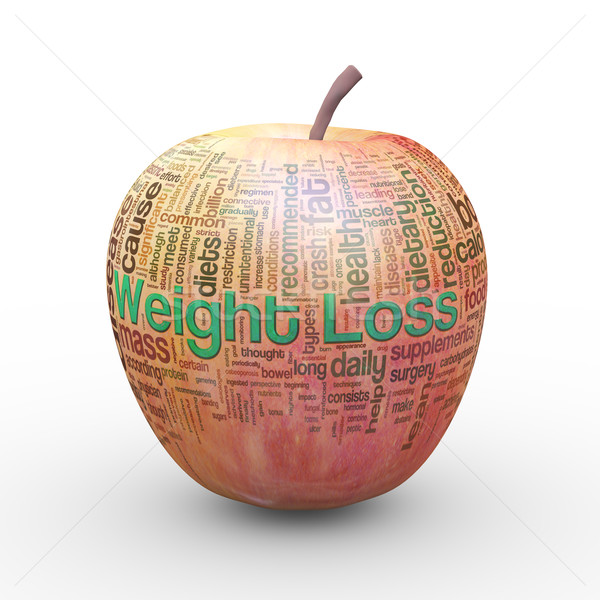 3d apple weight loss wordcloud tags Stock photo © nasirkhan