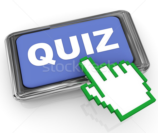 3d quiz button and hand cursor pointer Stock photo © nasirkhan