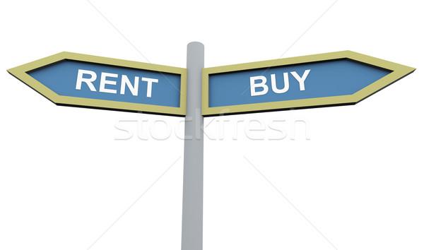 Сток-фото: купить · аренда · знак · пост · 3D · дорожный · знак