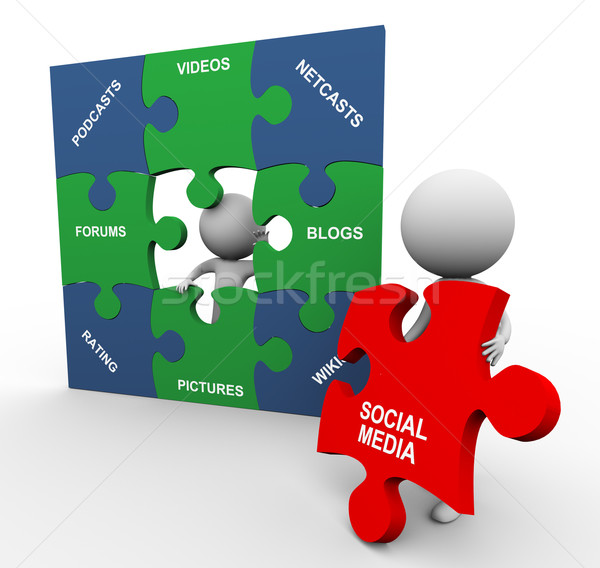 3d people with social media puzzle Stock photo © nasirkhan