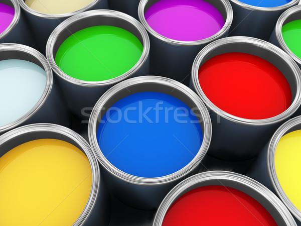 Boya 3d render renk çalışmak mavi Stok fotoğraf © nasirkhan