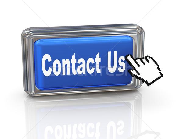 3d hand cursor button - contact us Stock photo © nasirkhan