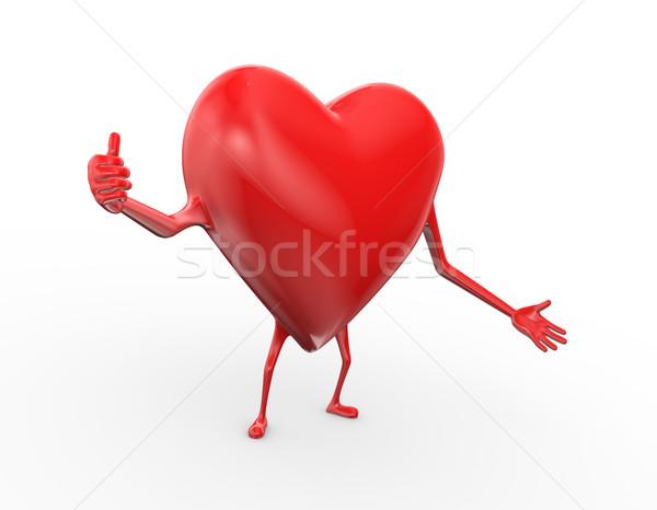 3d heart thumbsup pose gesture illustration Stock photo © nasirkhan