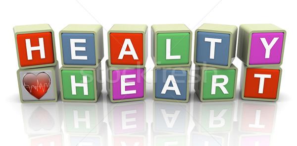 3D divatszó szöveg egészséges szív színes orvosi Stock fotó © nasirkhan