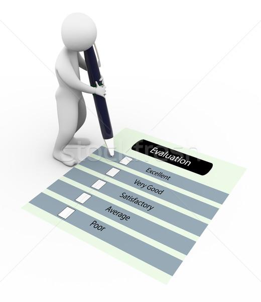 3d man évaluation questionnaire stylo boîte écrit Photo stock © nasirkhan