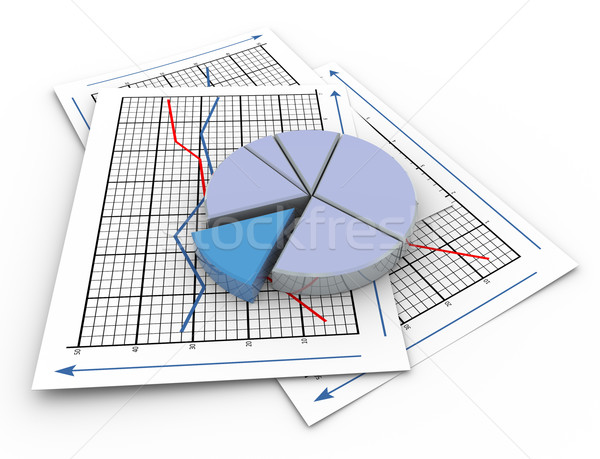 3D Pie Chart On Graph Paper Stock Photo © Nasir Khan (Nasirkhan