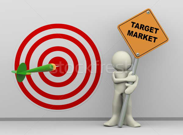3d man with target market sign board Stock photo © nasirkhan