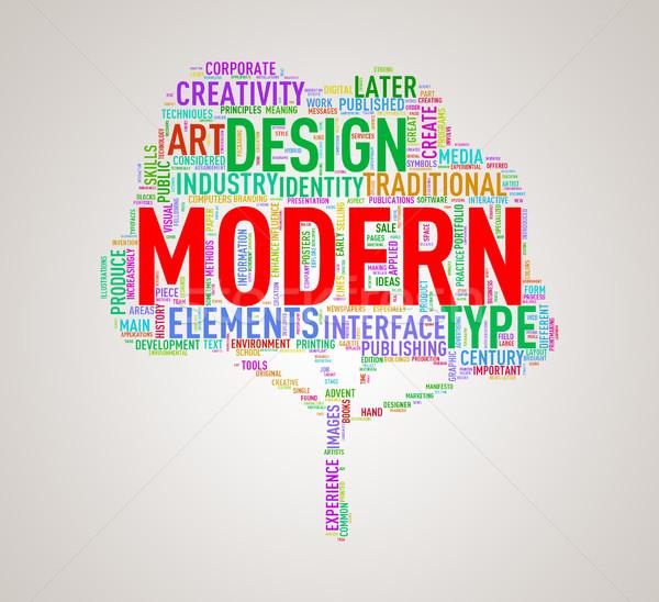 Tree shape wordcloud modern Stock photo © nasirkhan