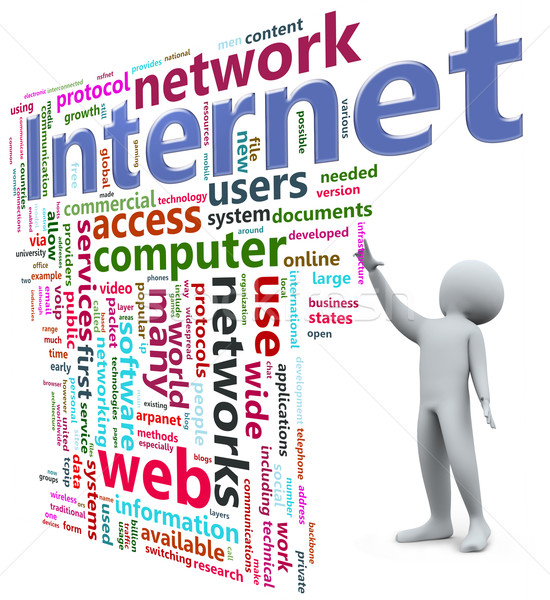 3d ember internet szófelhő néz világ technológia Stock fotó © nasirkhan