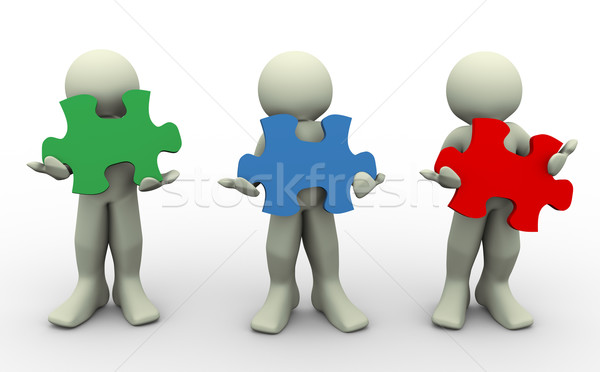 3d people with puzzle peaces Stock photo © nasirkhan