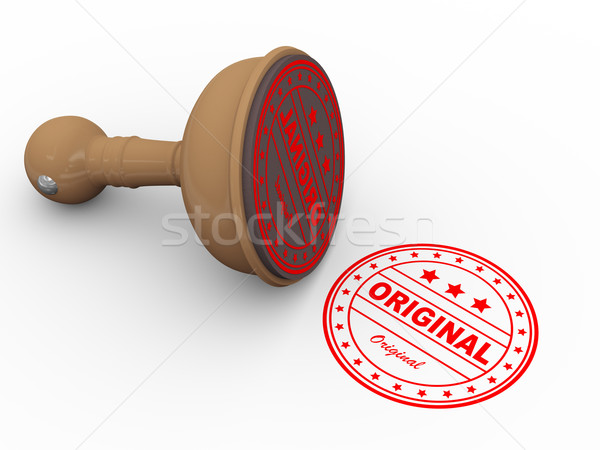 3d wooden rubber stamp original Stock photo © nasirkhan