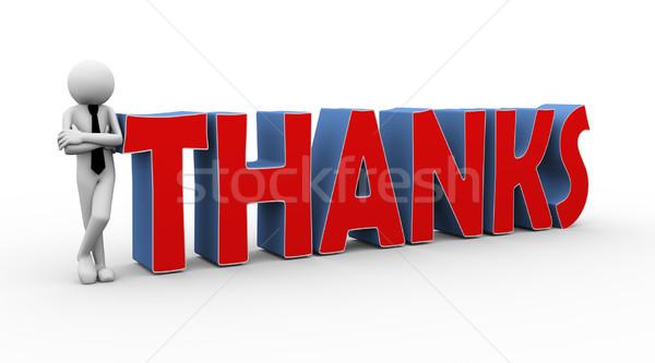 3D üzletember szó köszönet renderelt kép üzletember Stock fotó © nasirkhan