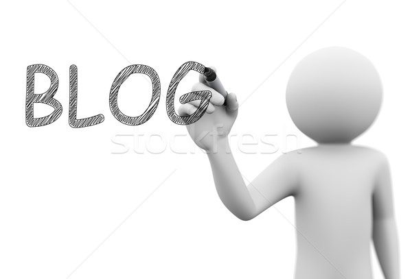 3d person drawing scribble word blog on transparent screen Stock photo © nasirkhan