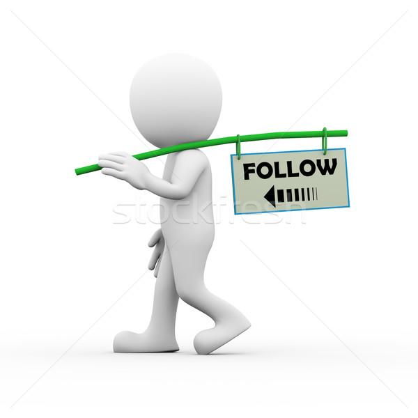 3d man social network and following concept Stock photo © nasirkhan