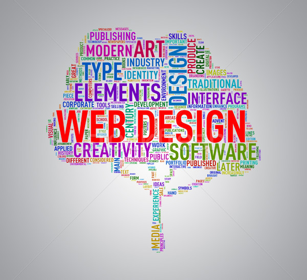 Tree shape wordcloud web design Stock photo © nasirkhan