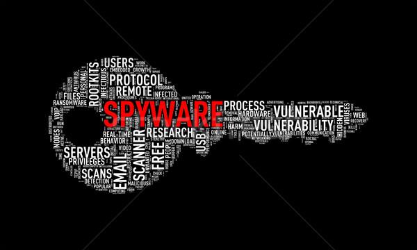 Kulcs forma szófelhő címke spyware illusztráció Stock fotó © nasirkhan