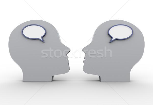 Stockfoto: 3D · tekstballon · 3d · render · menselijke · business · communicatie