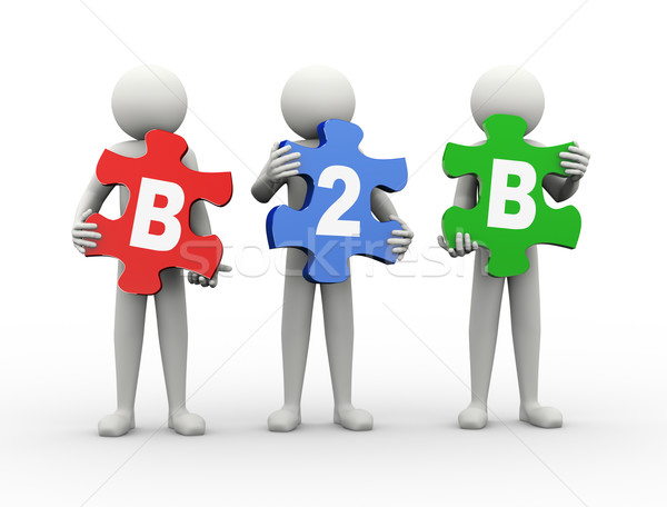 3d man puzzle piece - b2b Stock photo © nasirkhan