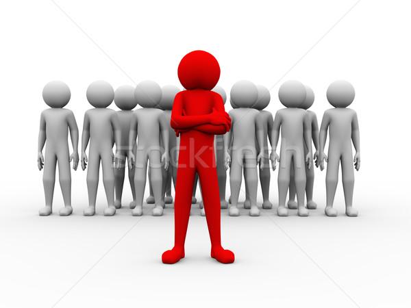 3D exitoso rojo hombre jefe de equipo ilustración Foto stock © nasirkhan