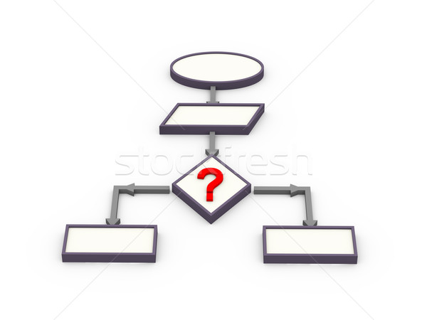 3D interrogation organigramme rendu 3d Aller symbole Photo stock © nasirkhan