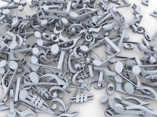 Stok fotoğraf: 3D · müzik · notaları · semboller · 3d · render · grup
