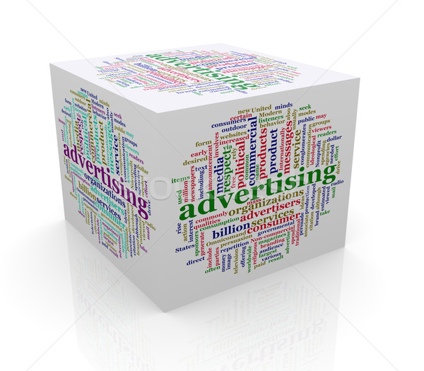 3d cube word tags wordcloud of advertising Stock photo © nasirkhan