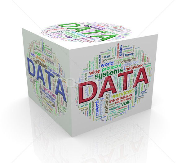 3d cube word tags wordcloud of data Stock photo © nasirkhan