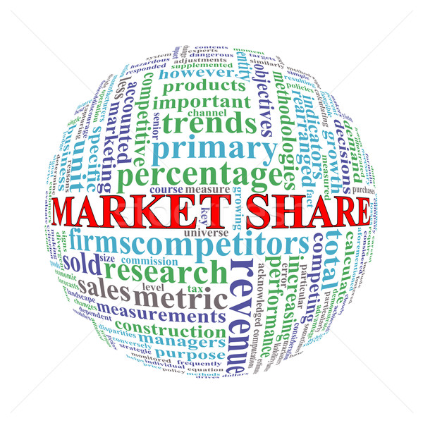Wordcloud word tags ball of market share Stock photo © nasirkhan