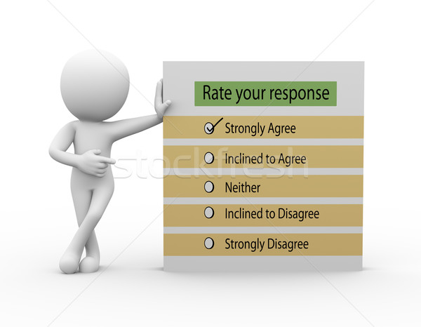 3d man with rate your response questionnaire Stock photo © nasirkhan