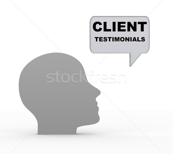 3d head and client testimonials Stock photo © nasirkhan