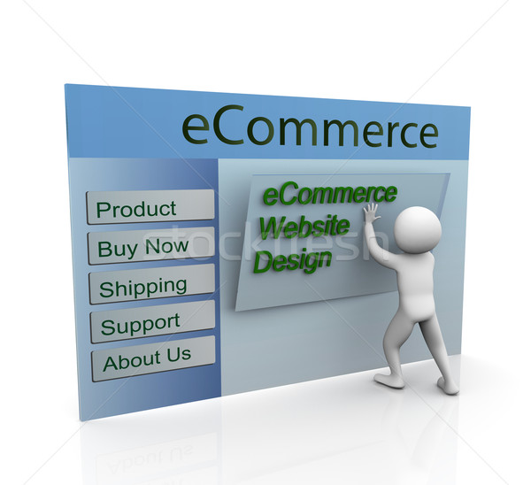 Sécurisé ecommerce web design 3d man bâtiment site web Photo stock © nasirkhan