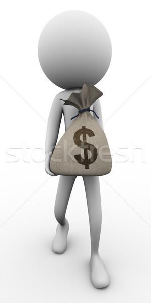 3d ember pénz táska tart dollár férfi Stock fotó © nasirkhan