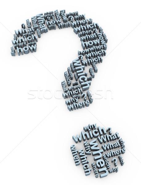 3D kérdés szavak 3d render kérdőjel szimbólum Stock fotó © nasirkhan