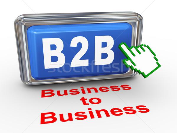 3D b2b business knop 3d render hand Stockfoto © nasirkhan