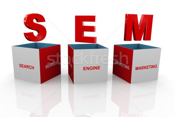 3D cuadro comercialización 3d siglas Foto stock © nasirkhan