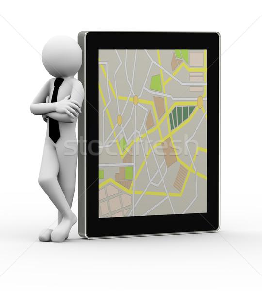 3D biznesmen komórkowych GPS Zdjęcia stock © nasirkhan