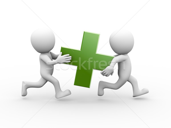 3d people carrying green plus sign Stock photo © nasirkhan
