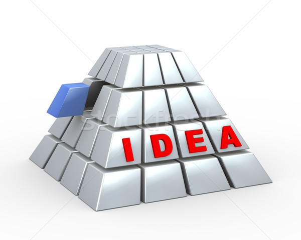 3d cube pyramid and word idea Stock photo © nasirkhan