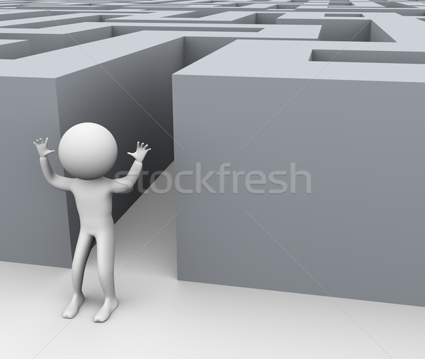 3D réussi homme labyrinthe 3d man Photo stock © nasirkhan